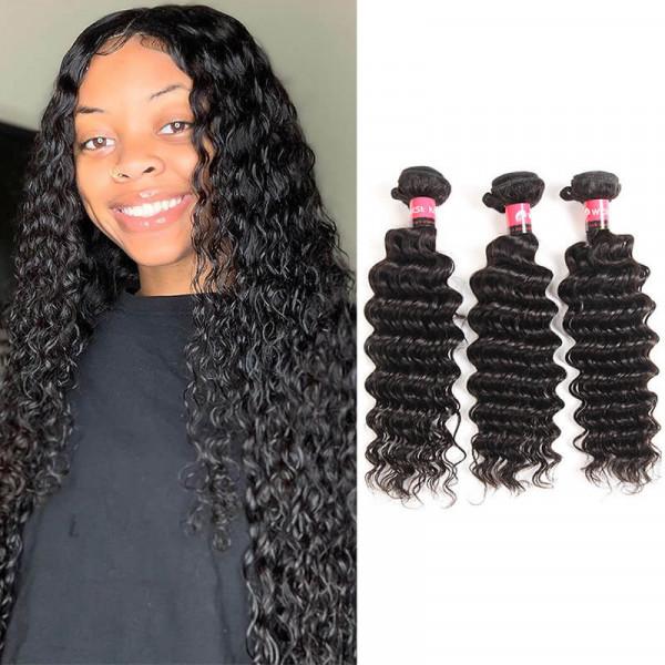 West Kiss 100% Human Hair Products Peruvian Deep Wave Hair 3 Bundles