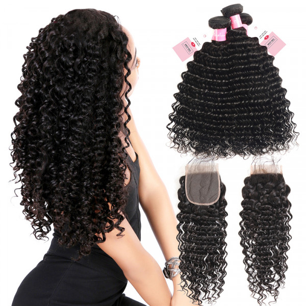 Peruvian Hair Deep Wave Hair Bundles And 4*4 Lace Closure Deep Wave Weave 3 Bundles Deals