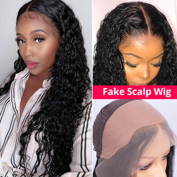 Deep Wave Fake Scalp Wigs Pre Plucked Frontal Wigs Real Hair Wigs For Sale