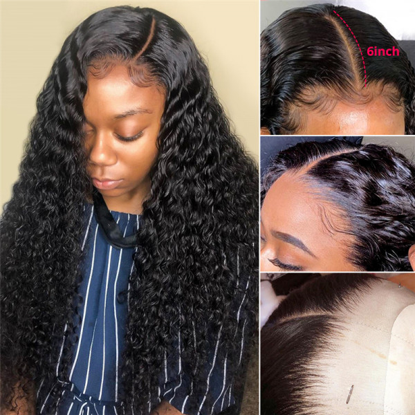 Deep Wave 6*6 Brazilian Human Hair Lace Front Wigs With Baby Hair Affordable Lace Front Wigs