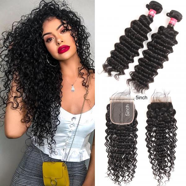 5*5 Lace Closure Deep Weave And Deep Wave Bundles 2 Bundles Hair Bundles With Closures