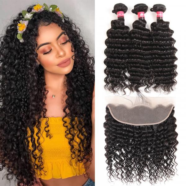 Peruvian Deep Wave Hair Bundles 3 Pcs And a 13*4 Lace Frontal