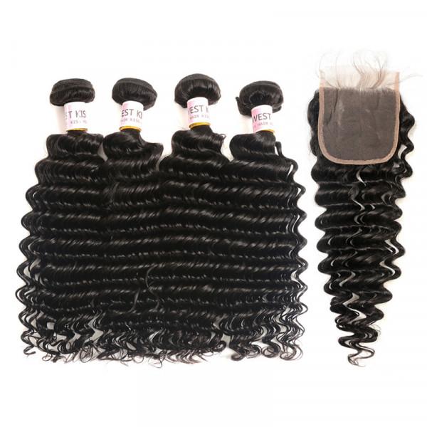 Human Hair Brazilian Deep Wave Virgin Hair 4 Pcs With 4*4 Lace Closure