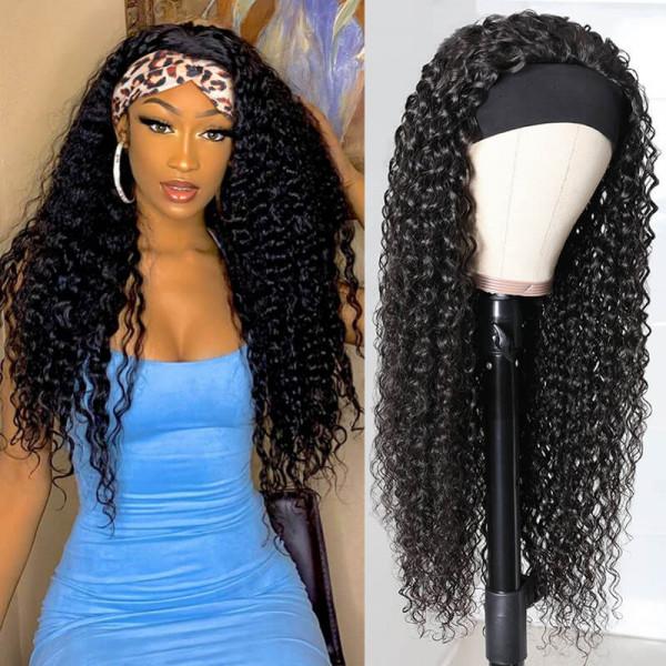 Deep Wave Best Human Hair Headband Wig 180% Density 10-26inch