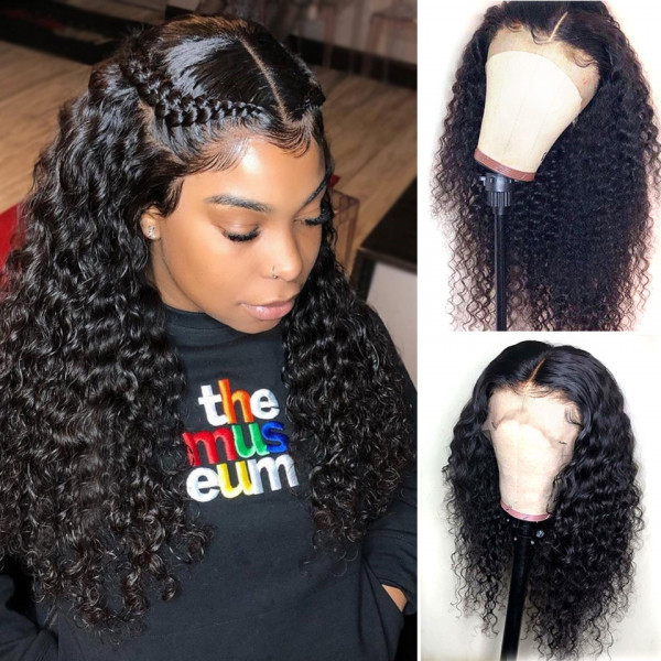 Deep Wave Virgin Human Hair 180% Density Lace Front Wig For Black Women