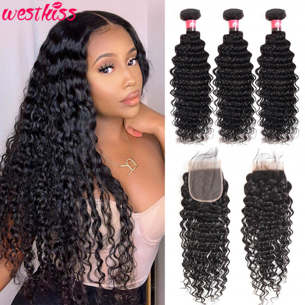 Deep Wave 4×4 Lace Closure With 3 Bundles 100 Human Hair Weaves And Closure