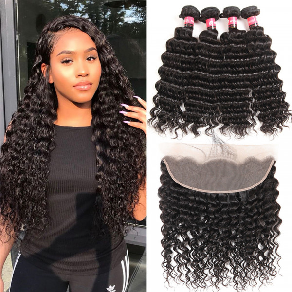 13*4 Lace Frontal Closure And Brazilian Deep Wave Weaves 4 Bundles