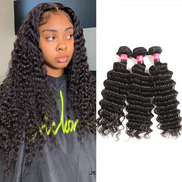 3 Bundles/Lot Deep Wave Hair Weaves Brazilian Hair Bundles