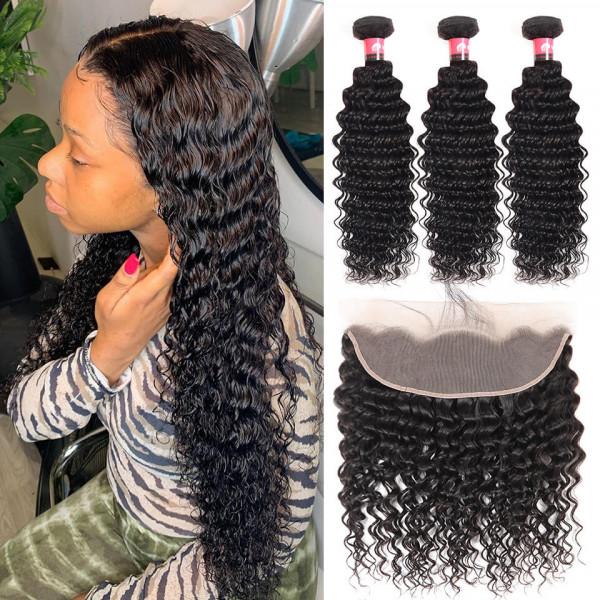 13x4 Lace Frontal Closures And Deep Wave Brazilian Hair Bundles 3 PCS