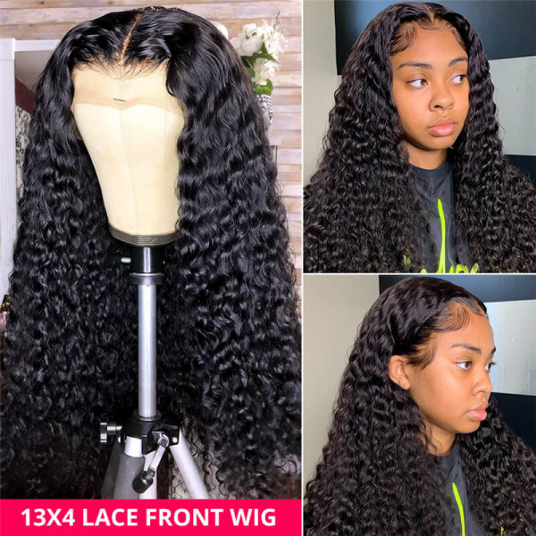 Deep Wave Lace Front Wig 250% Density Human Hair Wigs For Women