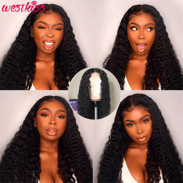 360 Lace Frontal Wigs Pre Plucked Deep Wave Wigs Black Hair Glueless Wigs