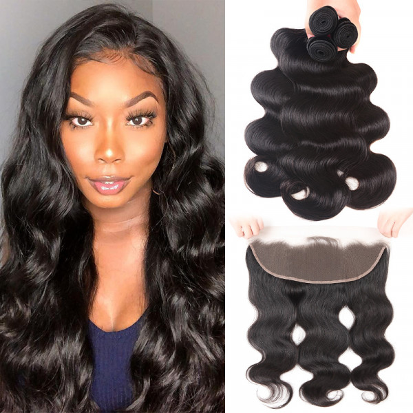 Body Wave 13*4 Lace Frontal Closure And Virgin Brazilian Hair Weave 3 Bundles