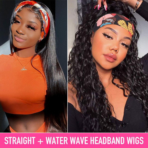 Head Band Wigs 2 For 1 Water Wave And Straight Human Hair Headband Wigs