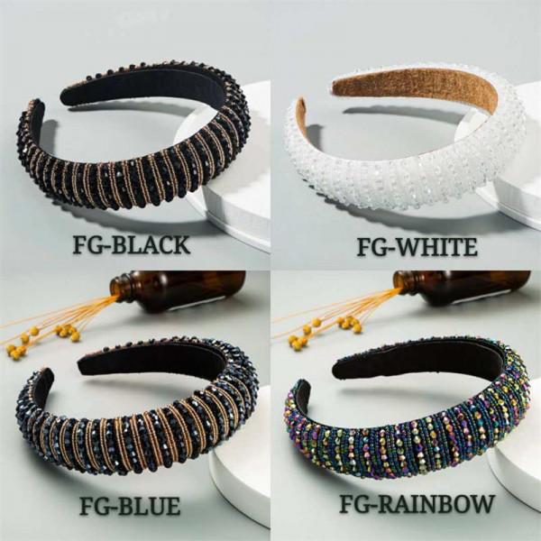Glitter Crystal Beads Headband Luxury Hair Accessories Hairbands Sparkly Hair Hoop