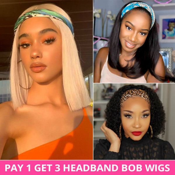 Pay 1 Get 3 Human Hair Headband Bob Wigs With Headbands Attached