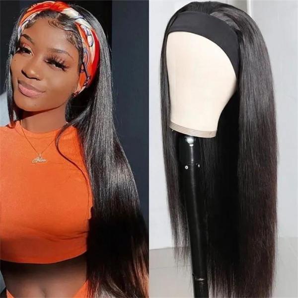 Straight Hair Head Band Wigs 5-Minute Install Human Hair Half Wigs