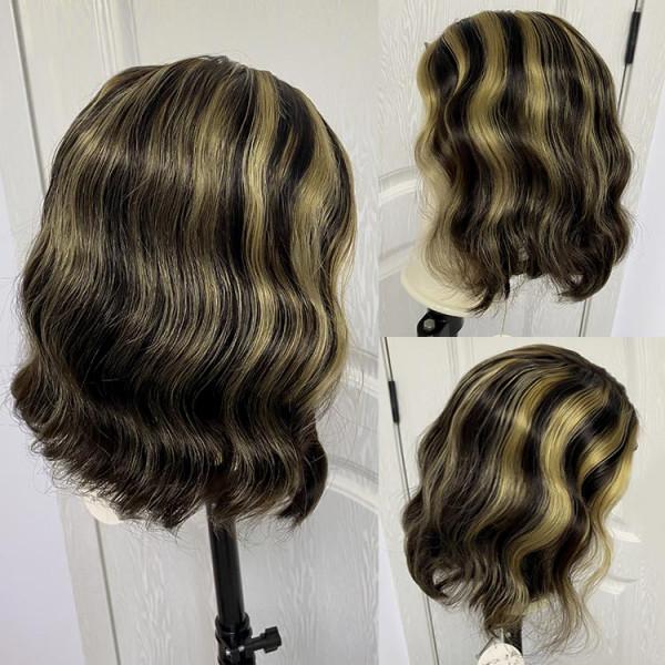 Highlight Bob Wig Black Wig With Blonde Highlights Short Ombre Highlight Wig