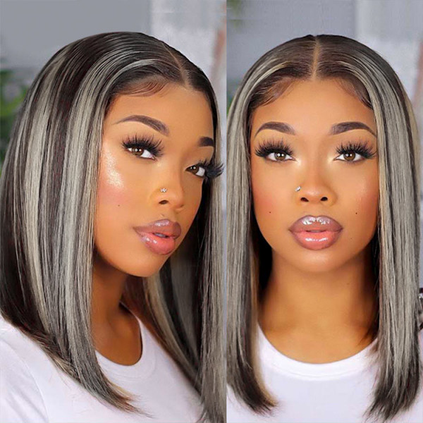 Highlight Bob Wig Straight Middle Part Bob With Grey Highlights