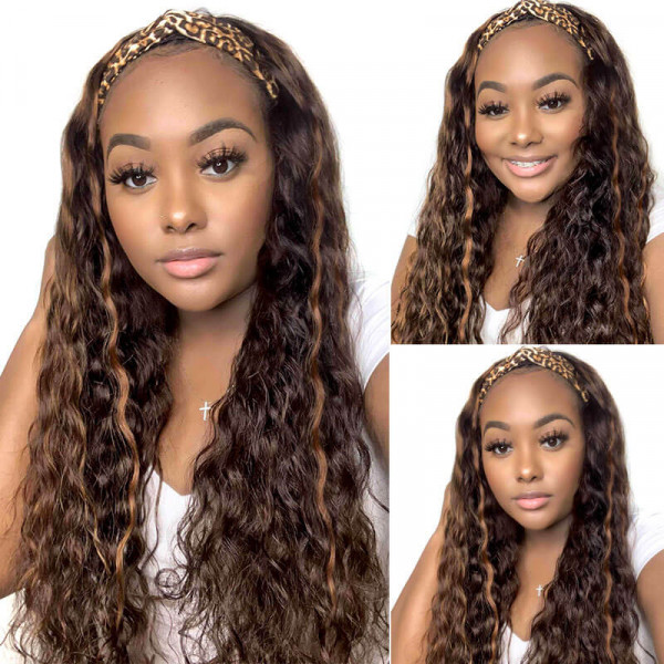 Highlight Headband Wigs Virgin Human Hair Ombre Curly Wigs