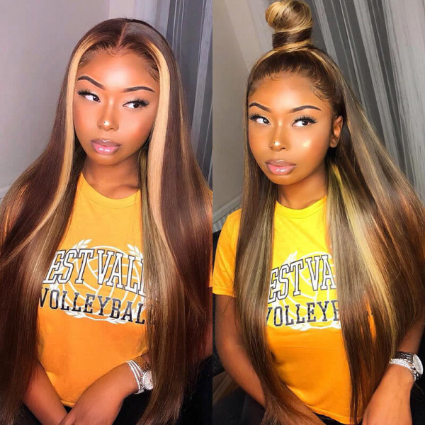 Highlight Wigs Straight Hair Ombre Wigs Customized Human Hair Lace Front Wigs