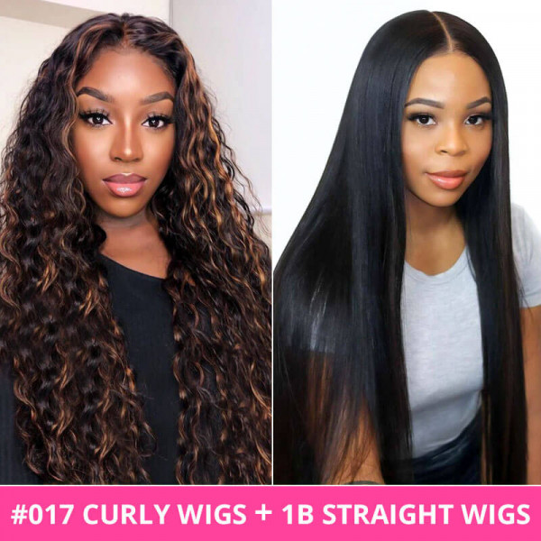 Curly Highlights Wigs And Black Straight Wigs Lace Part Wigs Combo Deal