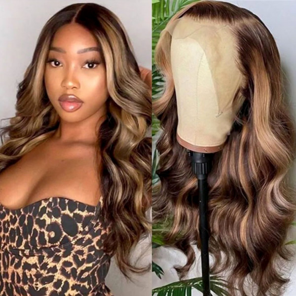 Highlight Wigs Brown And Honey Blonde Highlights Wig Ombre Human Hair Wigs