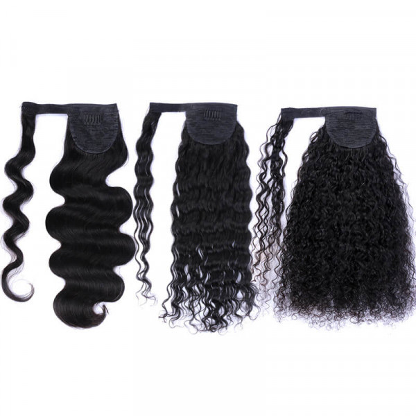 100% Human Hair Ponytail Straight Hair Curly Hair Extensions