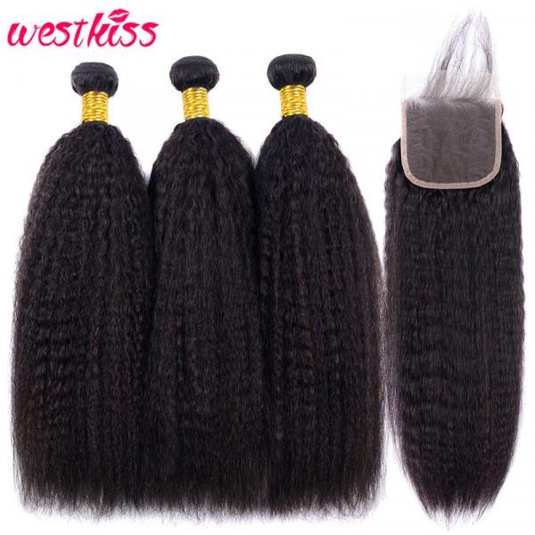 Kinky Straight Hair 3 Bundles With a Brazilian Kinky Straight Hair 4x4 Lace Closure