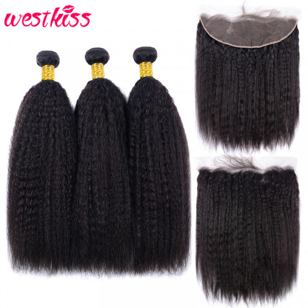Brazilian Hair Kinky Straight Hair 3 Bundles With a Pre Plucked Ear To Ear Lace Frontal