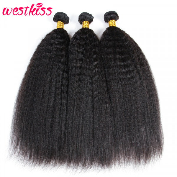 Kinky Straight Human Hair Bundles 3 Bundles Brazilian Virgin Yaki Hair Bundle Deals