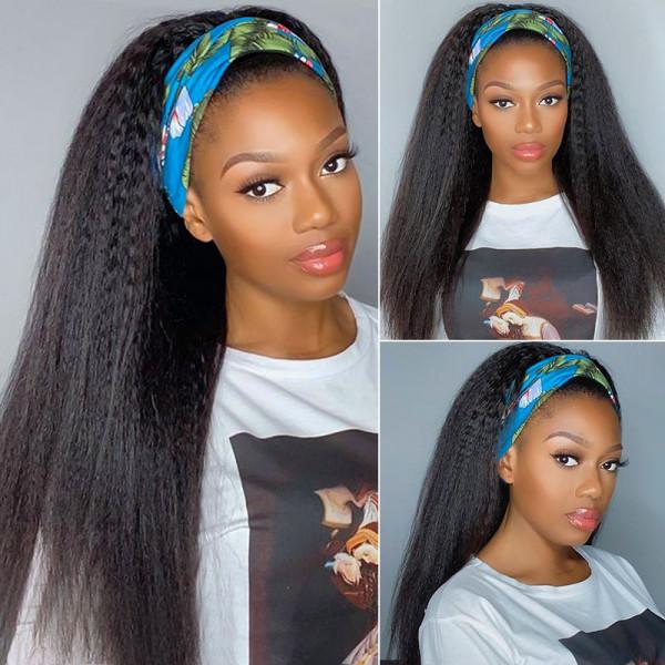 Kinky Straight Headband Wigs Human Hair Half Wig With Headband