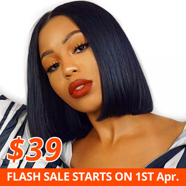 Blunt Cut Bob Wig Middle Part Straight Lace Part Bob Wigs