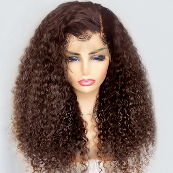 Brown Curly Wig #4 Long Brown Lace Front Human Hair Wigs