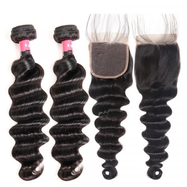 2 Bundles Loose Deep Wave Weave And a 4x4 Lace Closure 100% Human Hair Weave Bundles