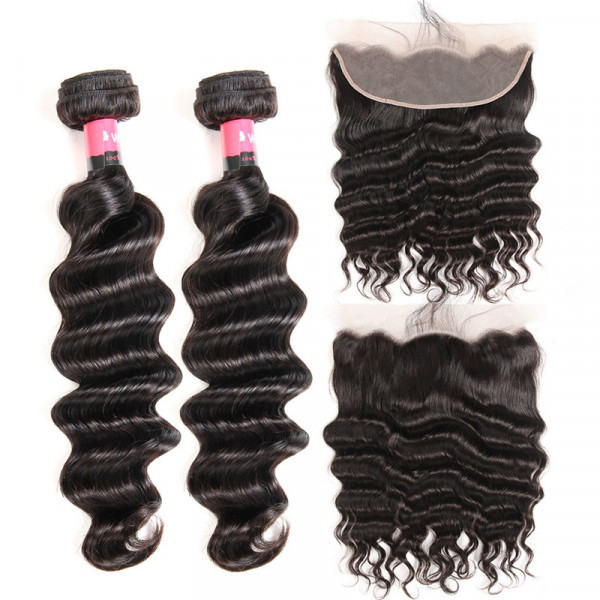 Loose Deep Wave 2 PCS With 13*4 Ear To Ear Lace Frontal Wet And Wavy Hair Bundles With Frontal