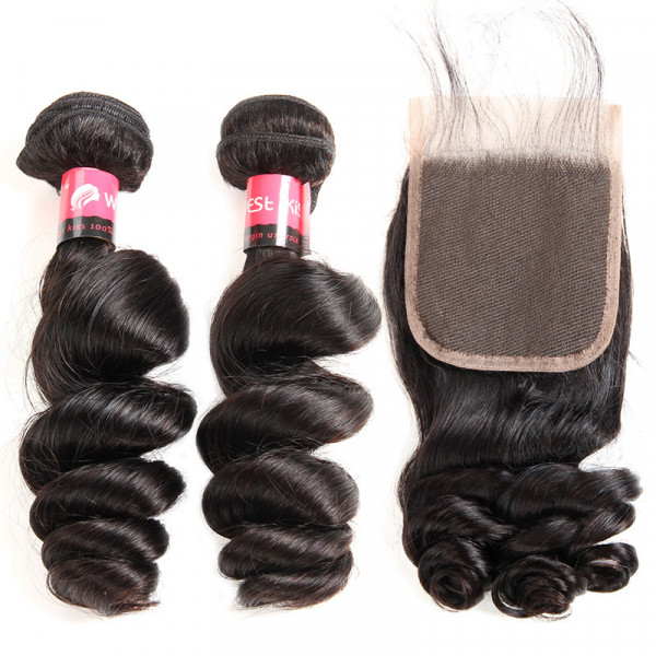 Loose Wave Brazilian Hair 2 Bundles With a 4*4 Lace Closure Piece Human Hair Weave Bundles With Closure
