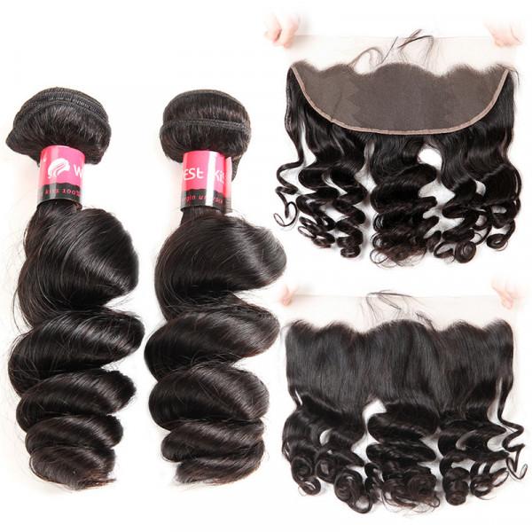 Peruvian Loose Wave Human Hair 2 Bundles and 13x4 Lace Frontal
