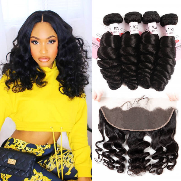High Quality Loose Wave Virgin Hair Bundles 4PCS And 13×4 Lace Frontal