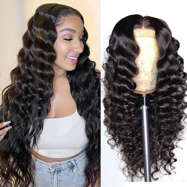 Natural Hair Lace Front Wigs Loose Deep Wave Good Quality Wavy Human Hair Wigs