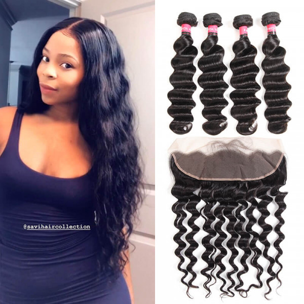 Loose Deep Wave 13*4 Lace Frontal And Loose Deep Wave Weaves 4 PCS
