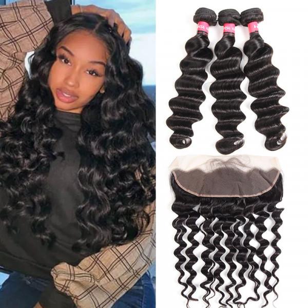 Peruvian Pre Plucked Lace Frontal And 3 Bundles Loose Deep Wave 100% Human Hair Bundles