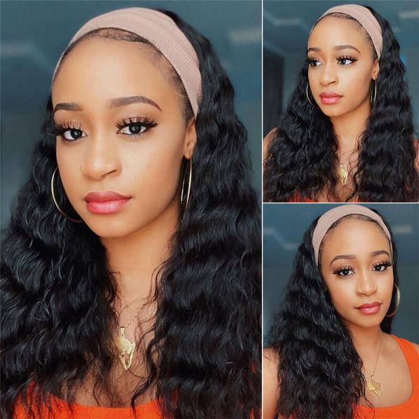 Loose Deep Wave Headband Human Hair Wigs For Black Women
