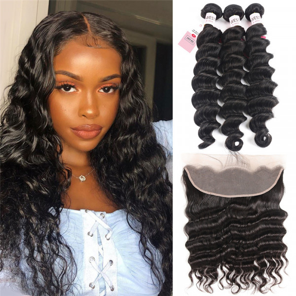 Loose Deep Wave Virgin Hair Bundles 3 Pcs With 13*4 Lace Frontal Closure