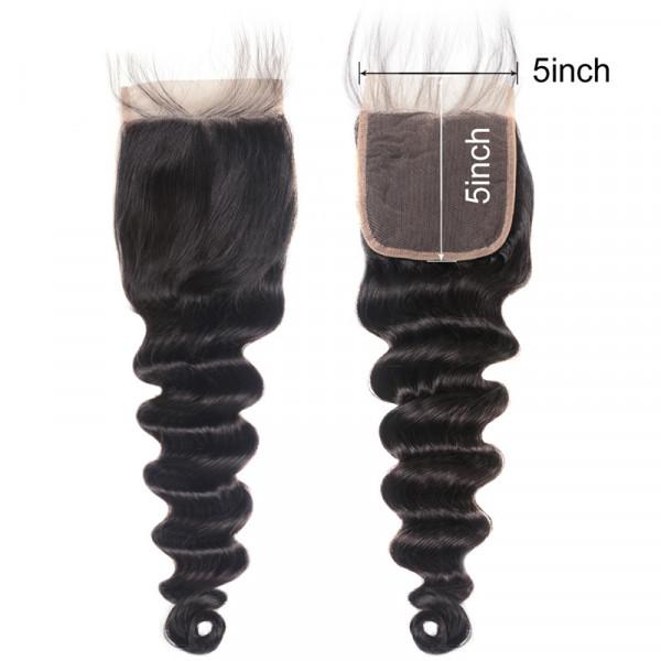 Loose Deep Wave 5x5 Inch Lace Closure Brazilian Virgin Hair Lace Closure