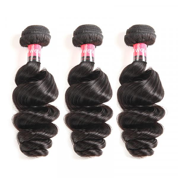 West Kiss Products Brazilian Loose Wave 3 Bundles Virgin Human Hair Weaving Bundle