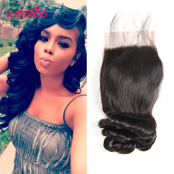 Peruvian Loose Wave Hair 4*4 Human Hair Closure High Quality