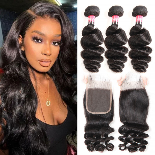 Loose Wave Peruvian Hair Weave 3 Bundles With a Peruvian Loose Wave 4*4 Lace Closure Free Part