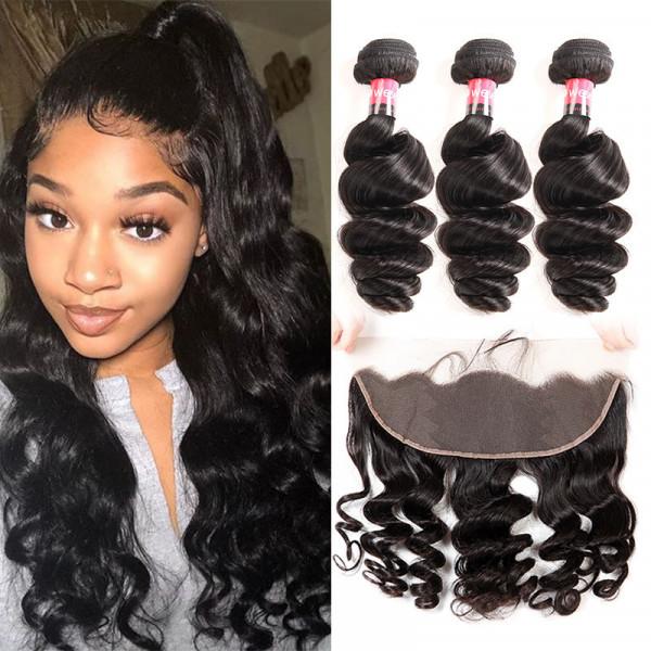 Peruvian Hair Loose Wave Human Hair Frontal With Real Human Hair 3 Bundles