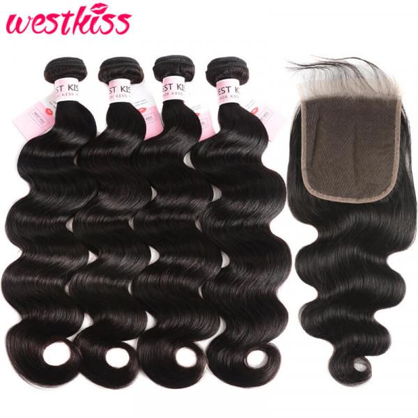 5x5 Lace Closure And Body Wave 4 Bundles Brazilian Human Hair Bundles With Closure