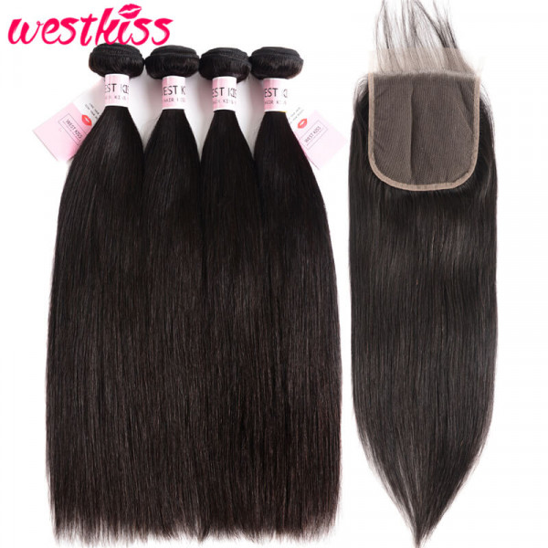 Brazilian Straight Hair 4 Bundles With 5*5 Lace Closure Bundles And Closure Deals